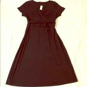NWT Talbots V Neck A Line Black Dress Medium